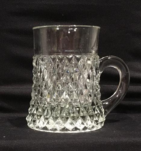 Vintage Indiana Glass Clear Diamond Point Mug Tankard