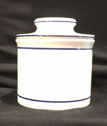 Butter Bell Dish Crock Blue and White Porcelain Ceramic Container