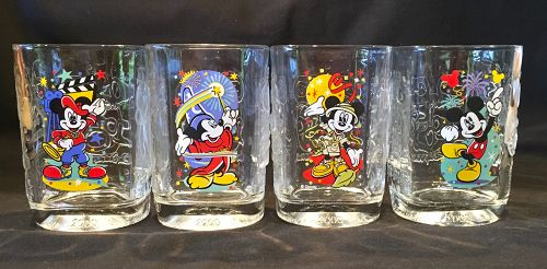 Disney World Mickey Mouse 2000 Complete Set Millennium Series Glasses