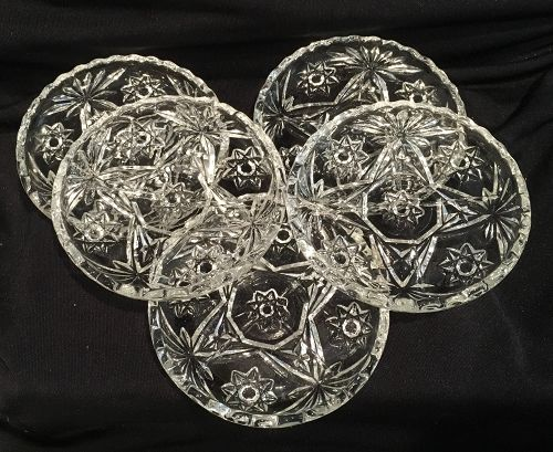 5 Anchor Hocking Early American Prescut Glass Coasters Star of David