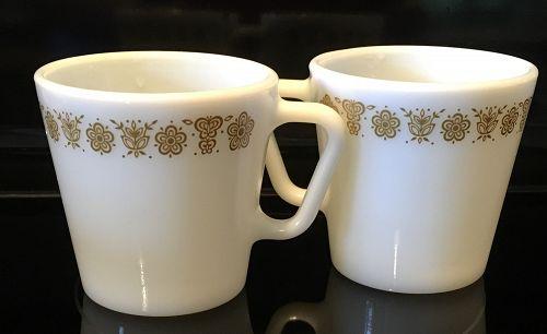3 Retired Pyrex BUTTERFLY GOLD Pyrex Mugs