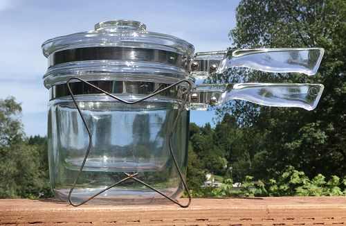PYREX Glass Flameware 6283 Double Boiler with Lid & Cooking Grid