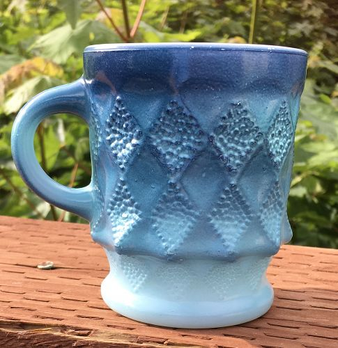 Vintage Fire King Blue Kimberly Mug  Anchor Hocking