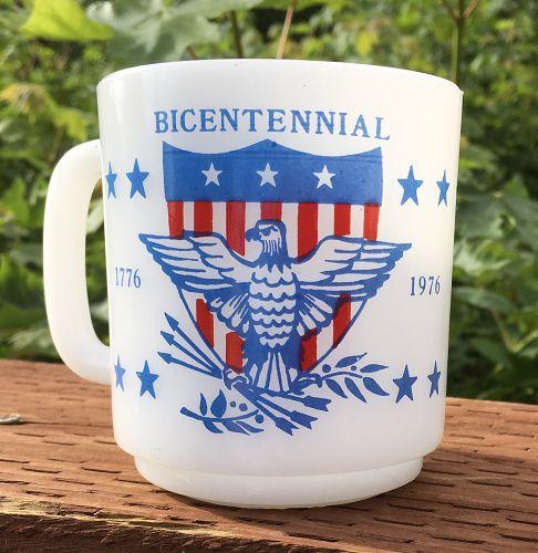 Vintage Glasbake Milk Glass Mug  1776-1976 BICENTENNIAL  EAGLE Image
