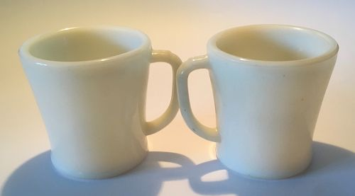 2 Vintage Fire King Mug Oven Glass Ivory D-Handle Flat Bottom 1940