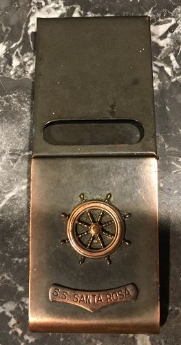 Rare Souvenir S.S. Santa Rosa Copper Metal Match Book  Holder Cover