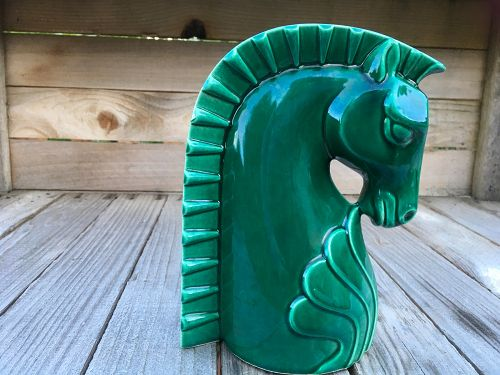 SOLD ......Vintage Haeger Art Deco Emerald Green Horse Head Vase