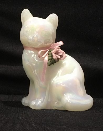 1960's Fenton Opalescent Pearlescent Cat Feline Figurine signed