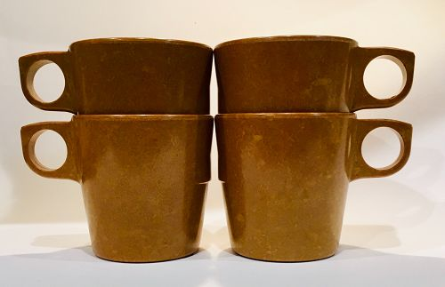 4 Vintage US Military Melamine Mess Hall Mug Halsey Coffee Melmac Cup