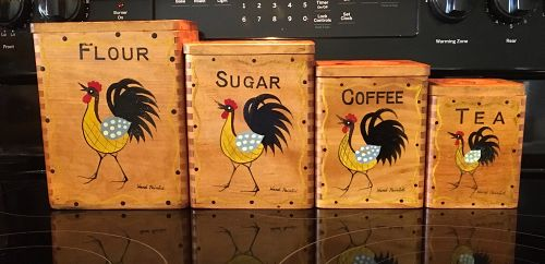 Vintage Wooden 4 Piece Nesting Canister Set with Hand Painted Roosters
