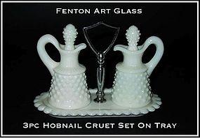 Fenton WMG Hobnail 3 pc Cruet Set With Tray