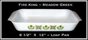 Fire King Meadow Green Lo Wide Loaf Pan