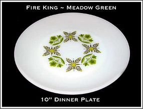 "Fire King Meadow Green 10"" Dinner Plate"