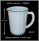 Hazel Atlas Green Stripe Decorated 1 Pint Pitcher