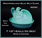 Westmoreland Blue Milk Glass Sitting Eagle On Nest~Wow!