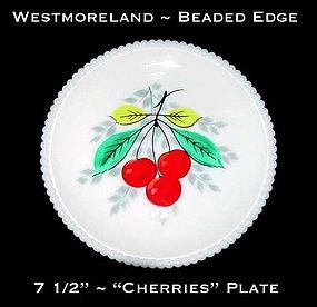 """Westmoreland Beaded Edge """"Cherries"""" 7 1/2"""" Plate"""