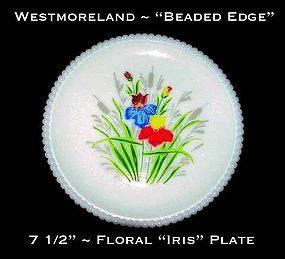 "Westmoreland Beaded Edge Floral ""Iris"" 7 1/2"" Plate"