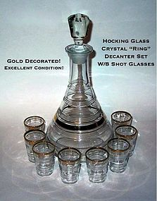 "Hocking Crystal ""Ring"" 10pc Decanter Set W/8 Shots"