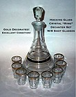 "Hocking Crystal ""Ring"" 10pc Decanter Set W/8 Shots"