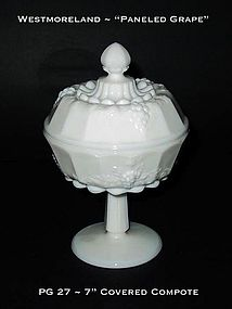 "Westmoreland ""Paneled Grape"" 7"" Tall Covered Compote"