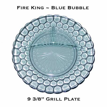 """Fire King Blue Bubble 9 3/8"""" Divided Grill Plate"""