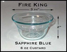 Fire King Sapphire Blue Flared 6 Ounce Custard Cup
