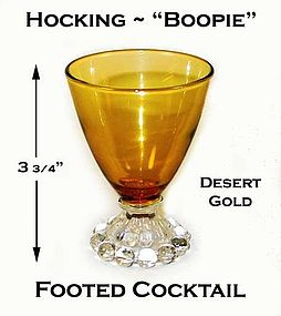 Fire King Boopie Desert Gold Footed Beverage Glass