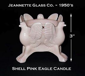 Jeannette Shell Pink Milk Glass Single Eagle Candle