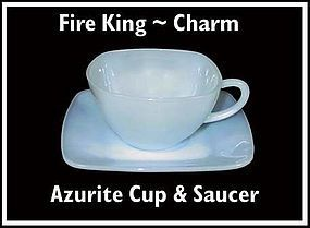 "Fire King Azurite Blue ""Charm"" Cup and Saucer"
