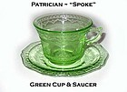 Federal Glass ~ Patrician Spoke ~ Green Cup & Saucer