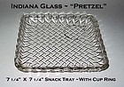 """Indiana ~ Pretzel ~ 7"""" X7"""" Square Snack Tray W/Cup Ring"""