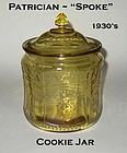 "Federal Amber Patrician ""Spoke"" Cookie Jar and Lid"