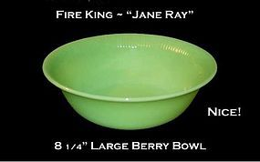Fire King Jadeite Jane Ray Large Berry Bowl