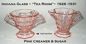 "Indiana Glass ""Tea Room"" Pink Creamer & Sugar As-Is"