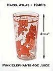 1940's Hazel Atlas Pink Elephant 4 oz Juice Tumbler