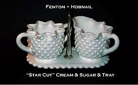 Fenton Art Glass WMG Hobnail Starcut Cream & Sugar