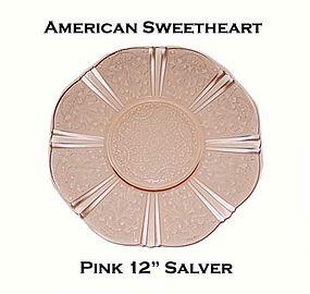 """MacBeth-Evans American Sweetheart Pink 12"""" Salver"""