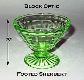 Block Optic Green Footed Cone Shaped Sherbert