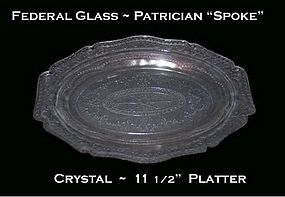 "Federal Glass Patrician ""Spoke"" Crystal Oval Platter"