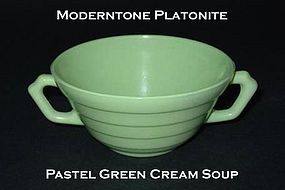 Moderntone Platonite Pastel Green 2 Handled Cream Soup