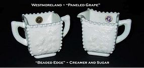 Westmoreland Paneled Grap Beaded Edge Creamer & Sugar