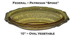 "Federal Patrician ""Spoke"" Amber 10"" Oval Bowl"