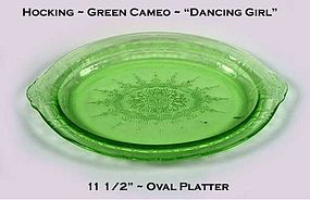 "Hocking ~ Green Cameo ~ ""Dancing Girl"" 11 1/2"" Platter"