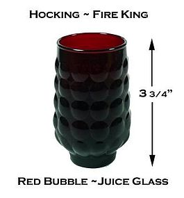 Hocking Fire King Red Bubble 5 oz Juice Glass