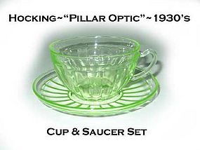 "Hocking ""Pillar Optic"" Green Cup and Saucer"