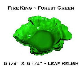 Fire King Forest Green Maple Leaf Shaped Relish Dish