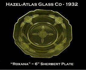 """Hazel-Atlas ~ """"Roxana"""" Golden Topaz 6"""" Sherbert Plate"""