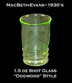 MacBeth-Evans Green Dogwood Style 1-2 oz Shot Glass