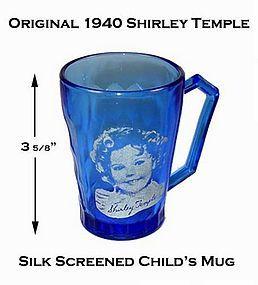Hazel Atlas Cobalt 1940s Shirley Temple Youth Mug