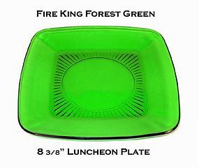 "Fire King Forest Green ""Charm"" Luncheon Plate"